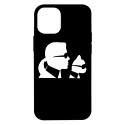 Чехол для iPhone 12 mini Karl and the cat with glasses