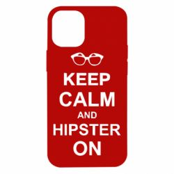 Чехол для iPhone 12 mini Keep calm an hipster on