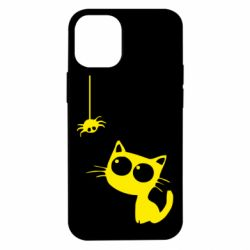 Чехол для iPhone 12 mini Котик и паук
