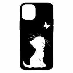 Чохол для iPhone 12 mini Котик з метеликом