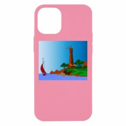 Чехол для iPhone 12 mini Lighthouse and ship vector