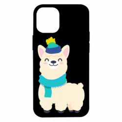Чехол для iPhone 12 mini Llama in a blue hat