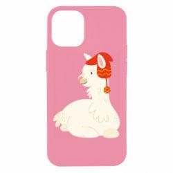 Чехол для iPhone 12 mini Llama in a red hat