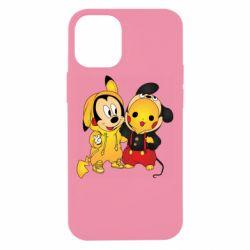 Чехол для iPhone 12 mini Mickey and Pikachu