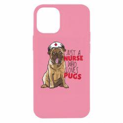 Чехол для iPhone 12 mini Nurse loves pugs