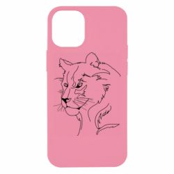 Чехол для iPhone 12 mini Outline drawing of a lion