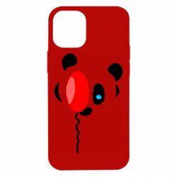 Чехол для iPhone 12 mini Panda and red balloon