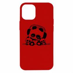 Чехол для iPhone 12 mini Панда в наушниках