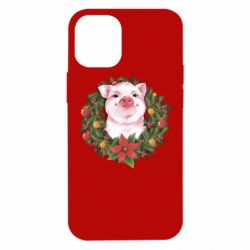 Чохол для iPhone 12 mini Pig with a Christmas wreath