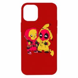 Чехол для iPhone 12 mini Pikachu and deadpool