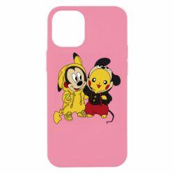Чехол для iPhone 12 mini Пикачу и Микки Маус