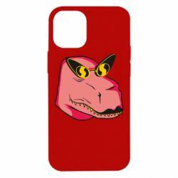 Чохол для iPhone 12 mini Pink dinosaur with glasses head