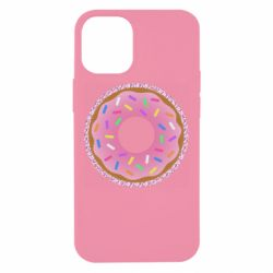 Чехол для iPhone 12 mini Pink donut on a background of patterns