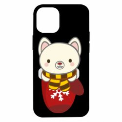 Чехол для iPhone 12 mini Puppy in a mitten