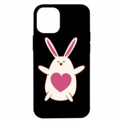 Чехол для iPhone 12 mini Rabbit with a pink heart