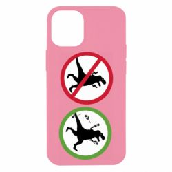 Чохол для iPhone 12 mini Sign with a dinosaur with a gun and flowers
