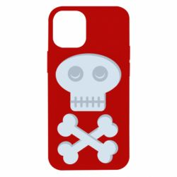 Чехол для iPhone 12 mini Skull and bones minimalism