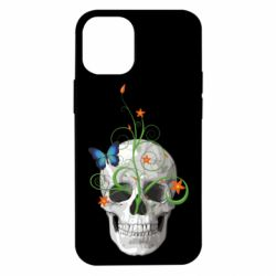 Чехол для iPhone 12 mini Skull and green flower