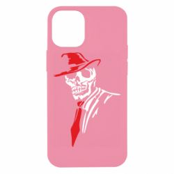 Чехол для iPhone 12 mini Skull in a hat with a tie