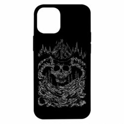 Чехол для iPhone 12 mini Skull with horns in the forest