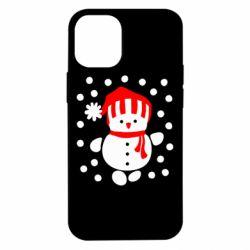 Чехол для iPhone 12 mini Снеговик в шапке