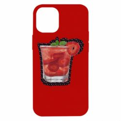 Чехол для iPhone 12 mini Strawberry cocktail on a background of flowers