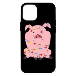Чохол для iPhone 12 mini Свиня обмотана гірляндою