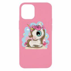 Чохол для iPhone 12 mini Unicorn with flowers
