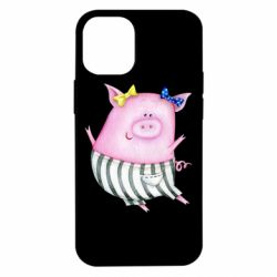 Чехол для iPhone 12 mini Watercolor Pig with paper texture