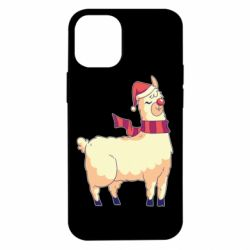 Чехол для iPhone 12 mini Yellow llama in a scarf and red nose