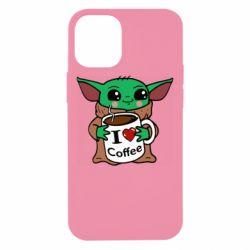 Чехол для iPhone 12 mini Yoda and a mug with the inscription I love coffee