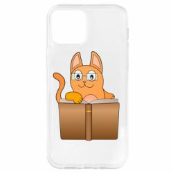 Чохол для iPhone 12 Pro Cat in glasses with a book