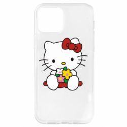 Чехол для iPhone 12 Pro Kitty с букетиком