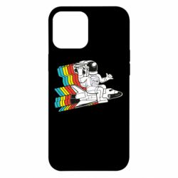 Чохол для iPhone 12 Pro Max Astronaut on a rocket with a tape recorder
