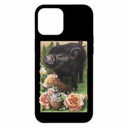 Чехол для iPhone 12 Pro Max Black pig and flowers