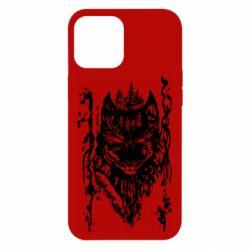 Чехол для iPhone 12 Pro Max Black wolf with patterns