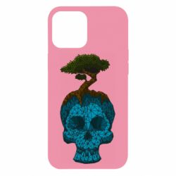 Чохол для iPhone 12 Pro Max Blue skull low poly and tree