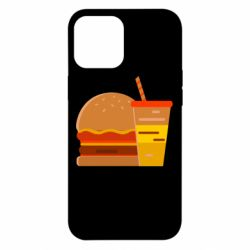Чехол для iPhone 12 Pro Max Burger and drink vector