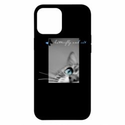 Чохол для iPhone 12 Pro Max Butterfly and cat with blur effect