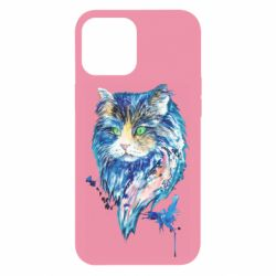 Чехол для iPhone 12 Pro Max Cat in blue shades of watercolor