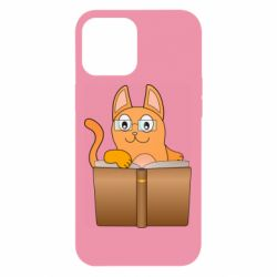 Чехол для iPhone 12 Pro Max Cat in glasses with a book