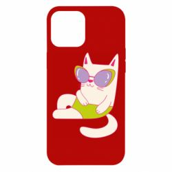 Чехол для iPhone 12 Pro Max Cat in modern glasses