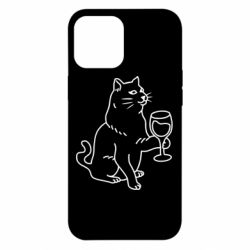 Чохол для iPhone 12 Pro Max Cat with a glass of wine