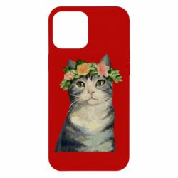 Чехол для iPhone 12 Pro Max Cat with a wreath of art oil