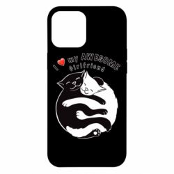 Чехол для iPhone 12 Pro Max Cats with red heart
