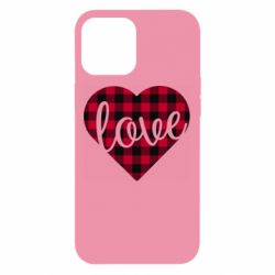 Чехол для iPhone 12 Pro Max Checkered heart with the inscription Love