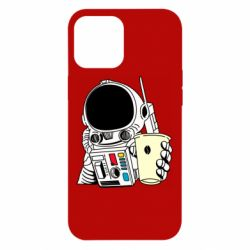 Чехол для iPhone 12 Pro Max Cosmonaut with a coffee