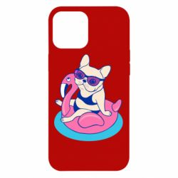 Чохол для iPhone 12 Pro Max Dog on the flamingo in the pool