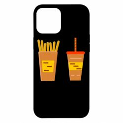 Чехол для iPhone 12 Pro Max French fries and cocktail flat vector