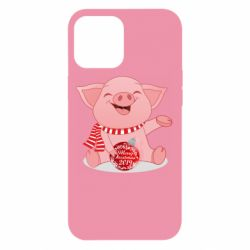 Чохол для iPhone 12 Pro Max Funny pig with a Christmas toy